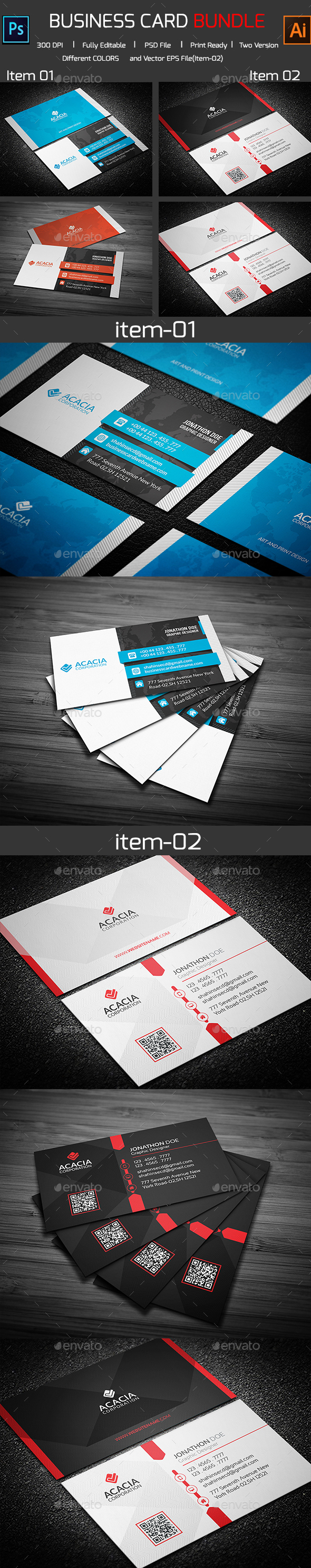 Bundle- 2 in 1 Business Card_08 - Corporate Business Cards