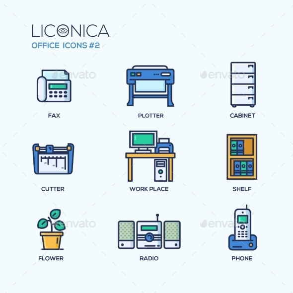 Set Of Modern Office Thin Line Flat Design Icons - Backgrounds Business