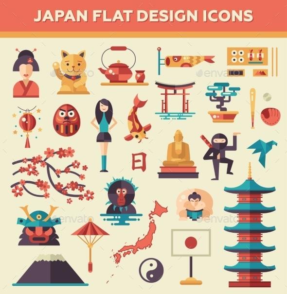 Set Of Flat Design Japan Travel Icons - Travel Conceptual