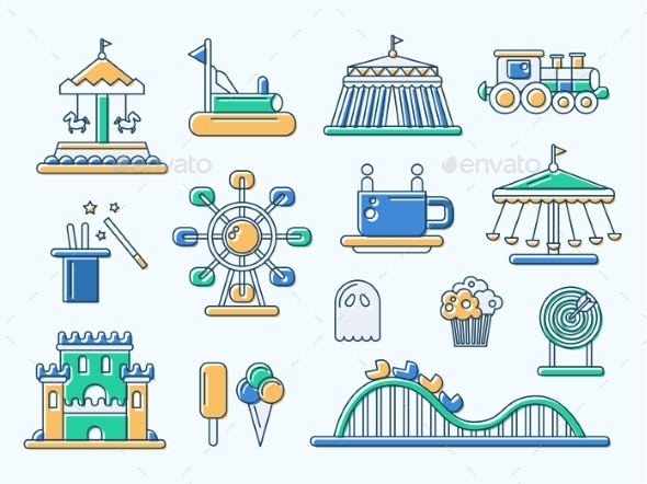 Set Of Flat Design Amusement Park Line Icons - Miscellaneous Vectors