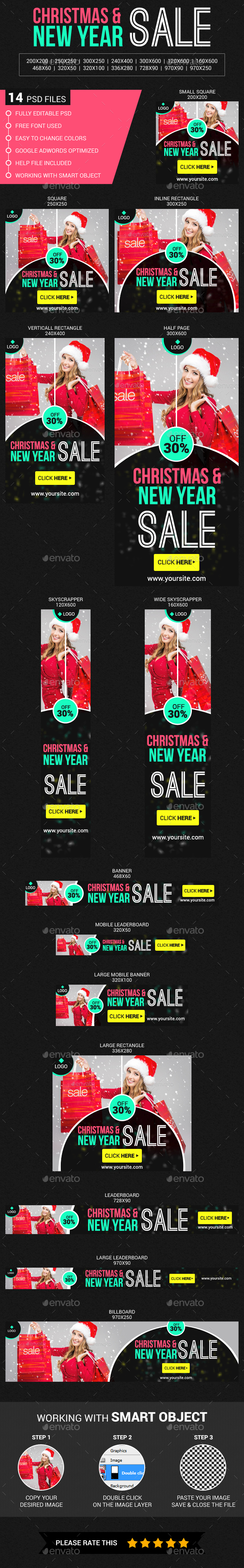 Christmas & New Year Sale - Banners & Ads Web Elements