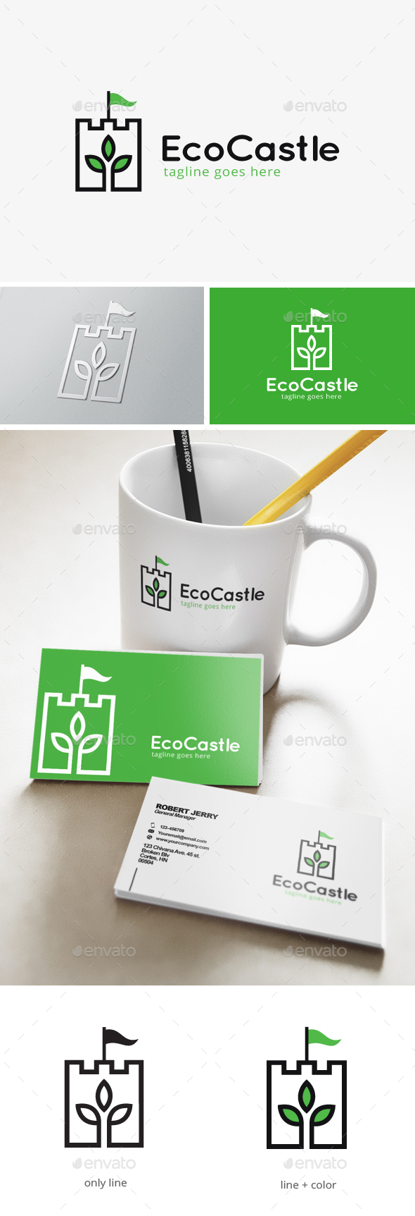 Green Castle Logo - Nature Logo Templates