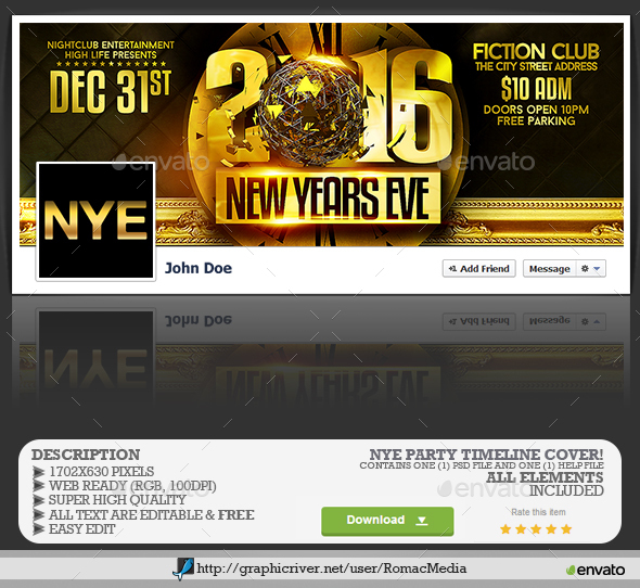Gold NYE Party Facebook Timeline Cover - Facebook Timeline Covers Social Media
