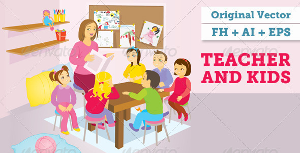Teacher And Kids Vector Illustration - Miscellaneous Conceptual