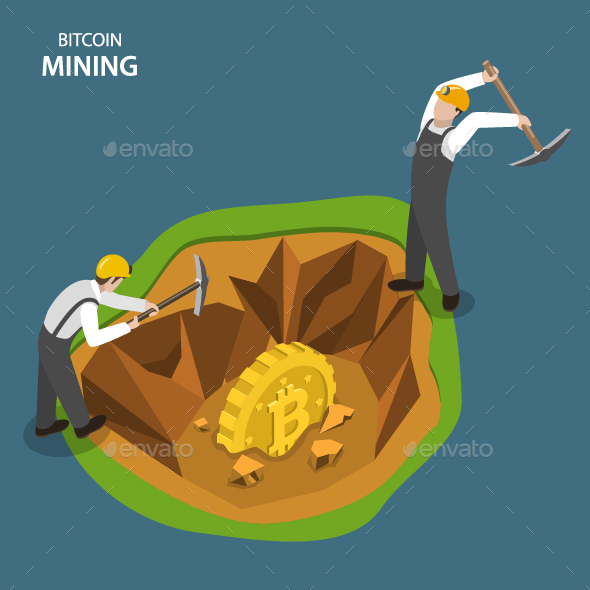 Bitcoin Mining Isometric Flat Vector Concept.  - Concepts Business