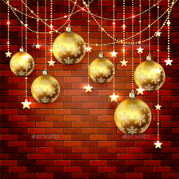 Golden Christmas Baubles on a Brick Wall - Christmas Seasons/Holidays