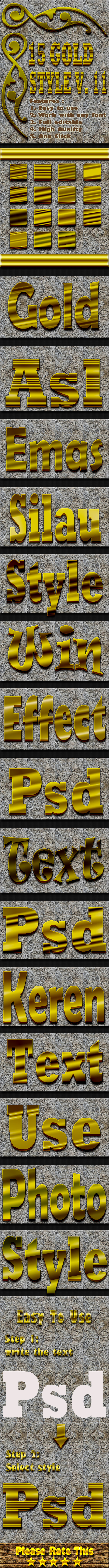 15 Gold Text Effect Style Vol 11 - Styles Photoshop