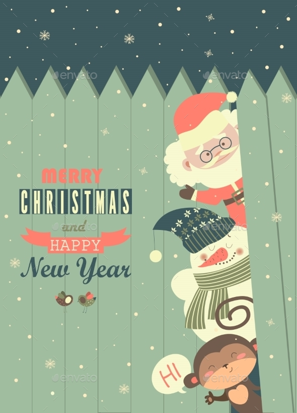 Santa, Monkey, Snowman Wishing You Merry Christmas - Christmas Seasons/Holidays