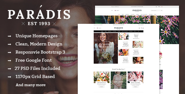 Paradise - Multipurpose eCommerce PSD Template - Retail PSD Templates