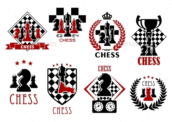Chess Game Heraldic Symbols and Emblems - Sports/Activity Conceptual