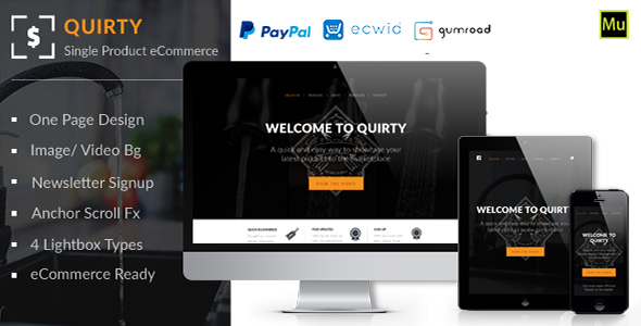 Quirty – SIngle Product Muse eCommerce Template