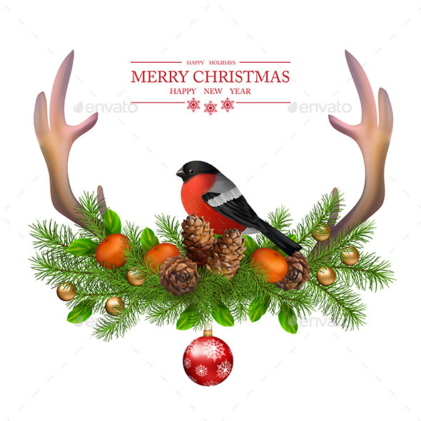 Merry Christmas Vector Greeting Card - Christmas Seasons/Holidays