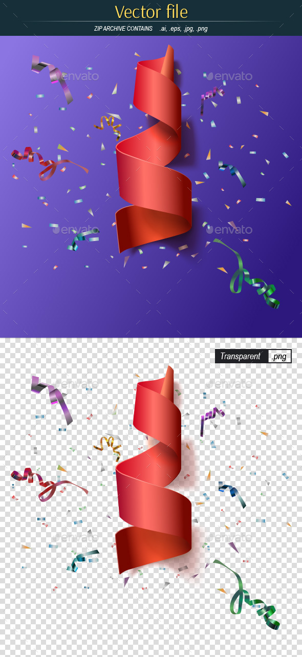 Festive Background with Confetti - Decorative Vectors