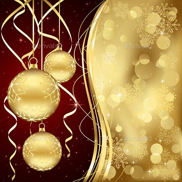 Golden Christmas Baubles - Christmas Seasons/Holidays