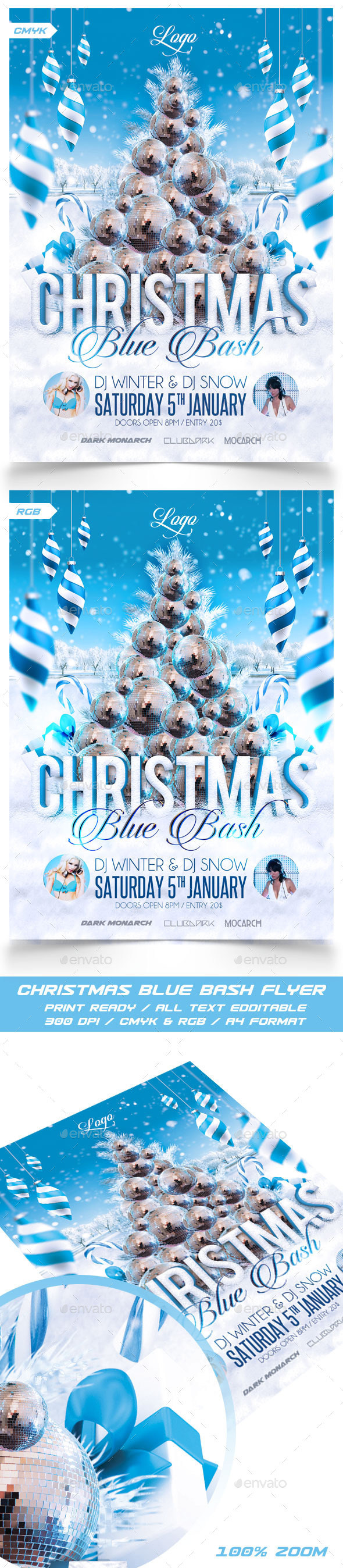 Christmas Blue Bash Party Flyer - Events Flyers