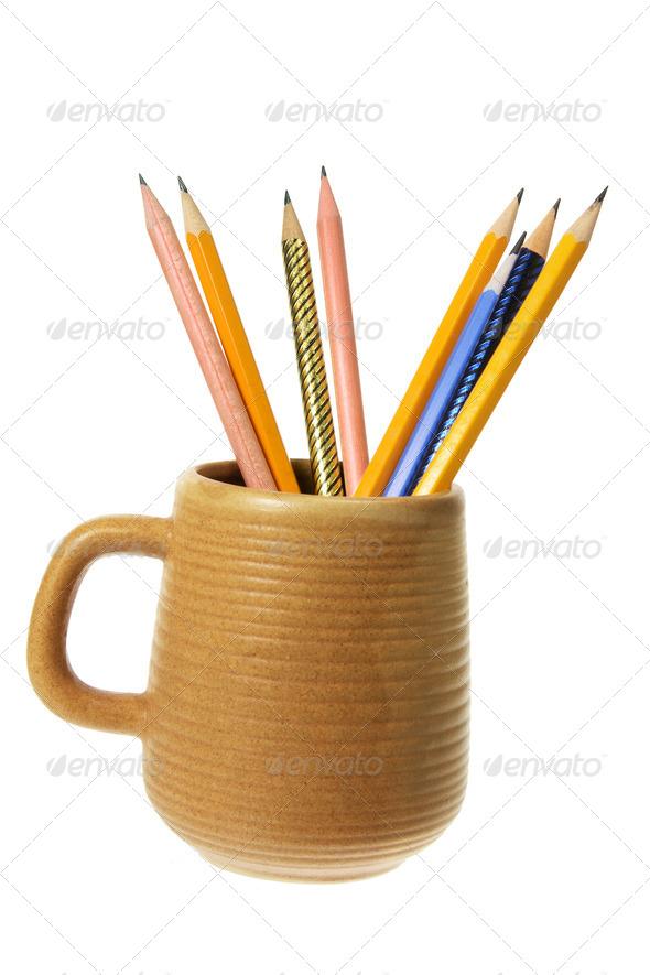 Coffee Mug with Pencils - Stock Photo - Images