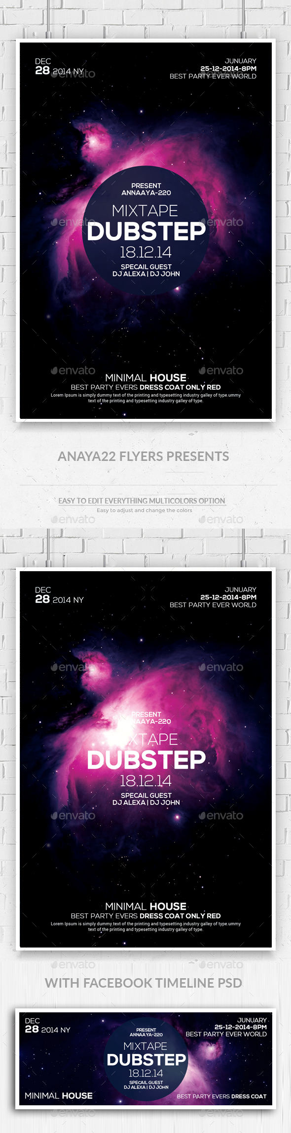 Electro Space Vibes Flyer + Facebook Timeline - Clubs & Parties Events