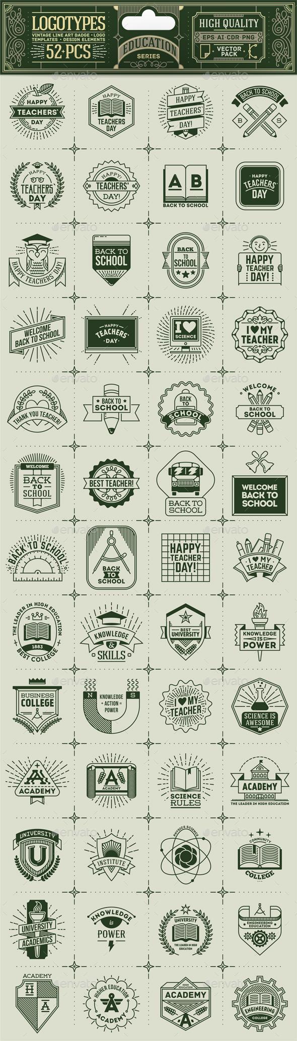 Education Thin Line Badges - Vectors
