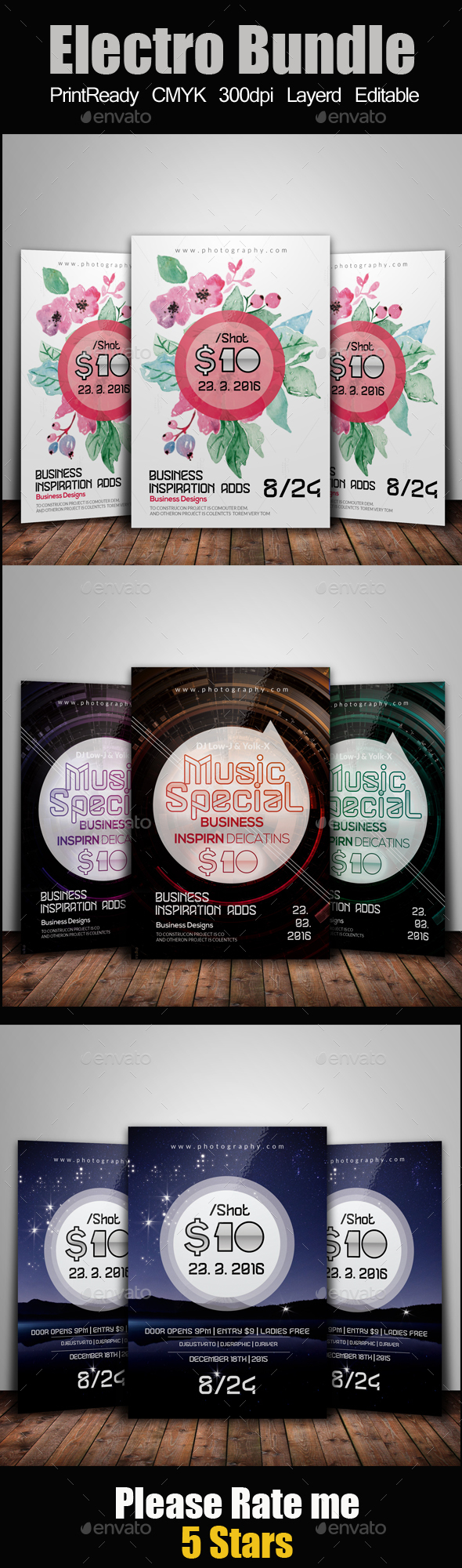 Abstract Flyer Template Bundle - Clubs & Parties Events