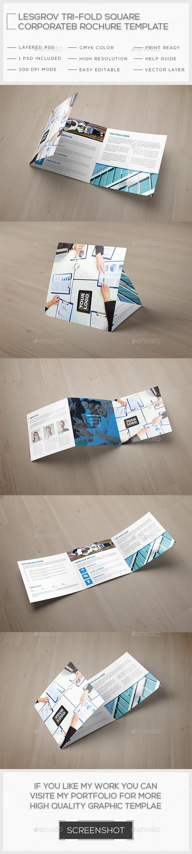 Lesgrov Tri-fold Square Brochure Template - Brochures Print Templates