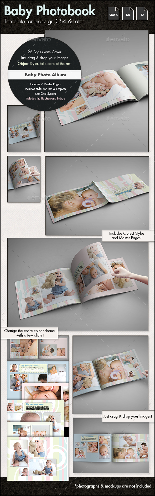 Baby Photobook Album Template g2 - A4 Landscape by sthalassinos ...