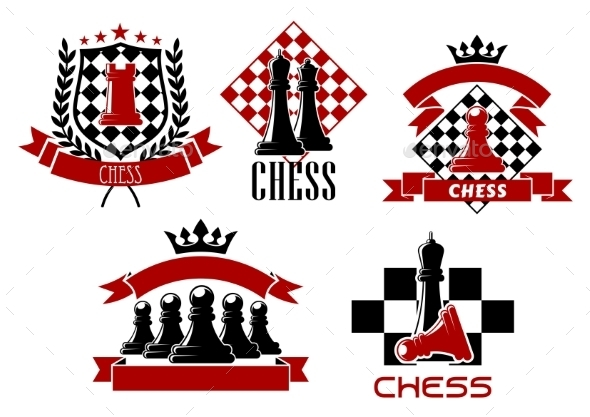 Chess Game Sporting Club Emblems Design - Sports/Activity Conceptual
