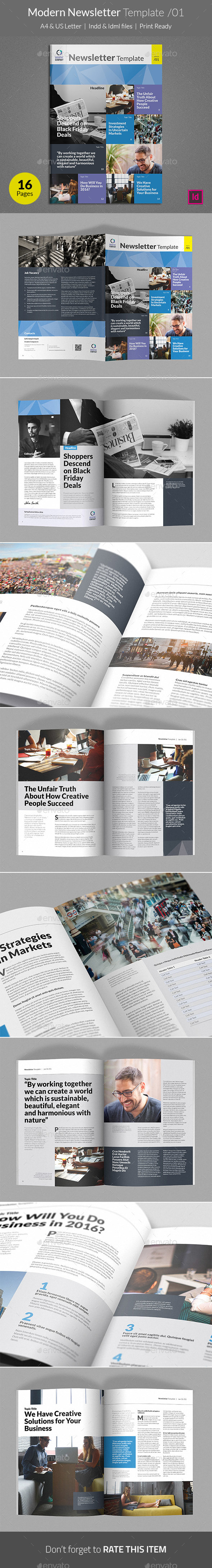 Modern Newsletter Template v01 - Newsletters Print Templates