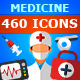 460 Medicine Flat Vector Icons Set - GraphicRiver Item for Sale