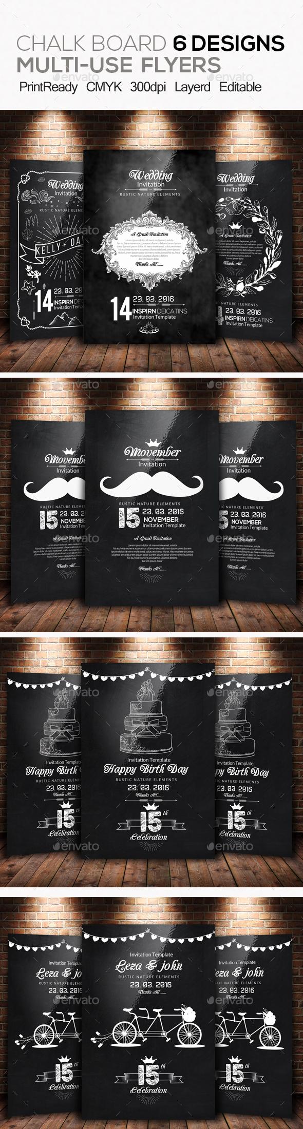 6 Chalk Board  Invitation Bundle - Invitations Cards & Invites