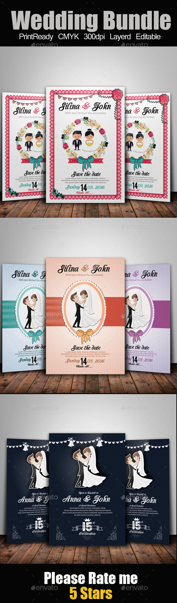 Wedding Flyer Template Bundle - Weddings Cards & Invites