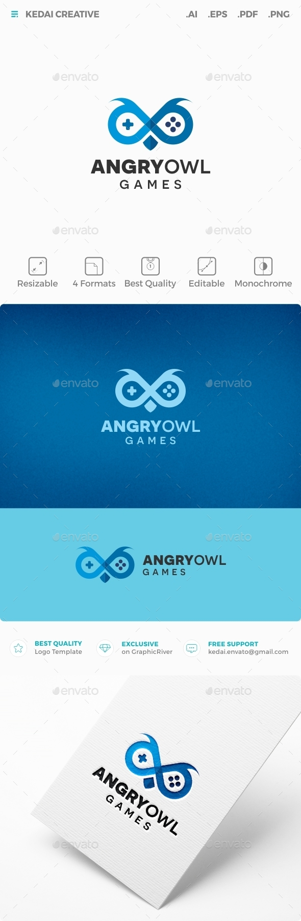 Angry Owl - Animals Logo Templates