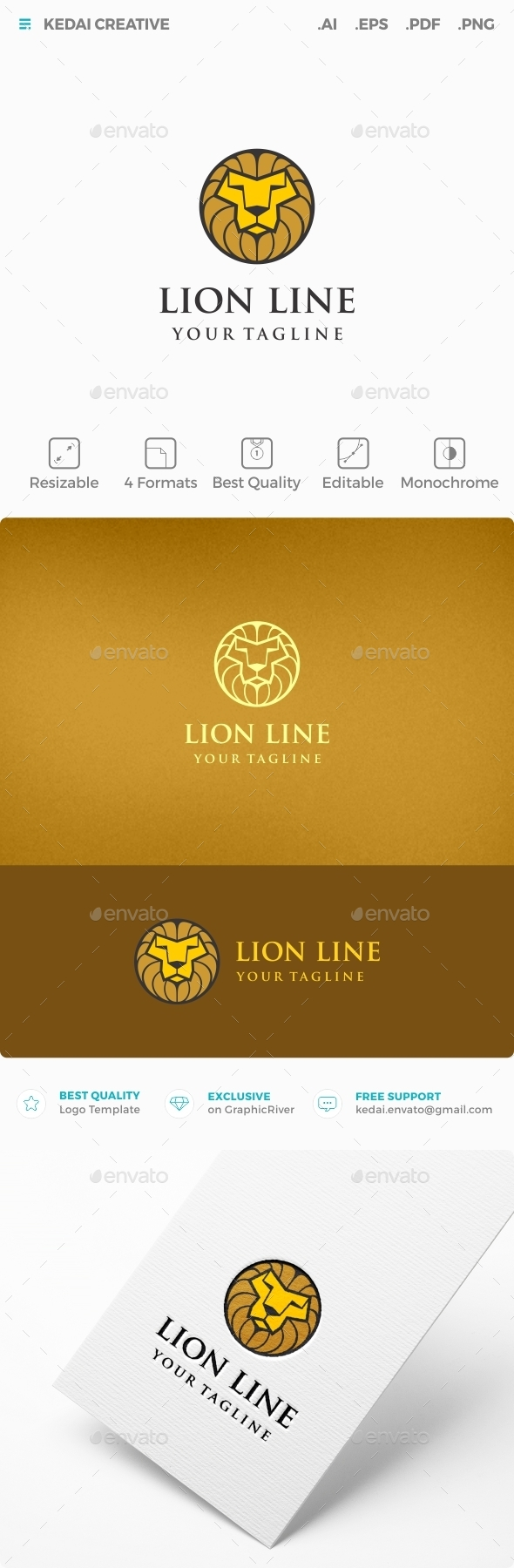 Lion Line - Animals Logo Templates