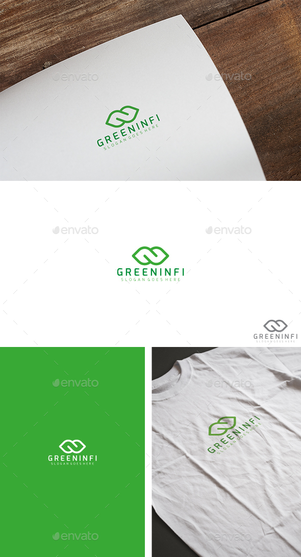 Green Leaf Infinity Logo - Abstract Logo Templates