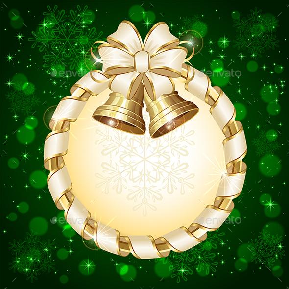 Green Christmas Card with Bells - Christmas Seasons/Holidays