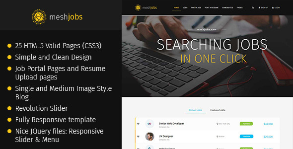 MeshJobs – Multipurpose Job Portal HTML Template