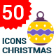 50 Flat Christmas Ball Icons - GraphicRiver Item for Sale
