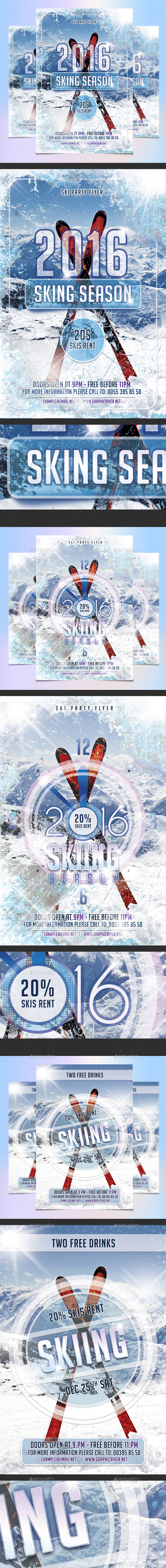 Skiing Season Flyers Template Bundle - Sports Events