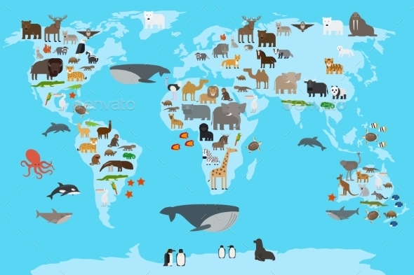 Animals World Map - Animals Characters