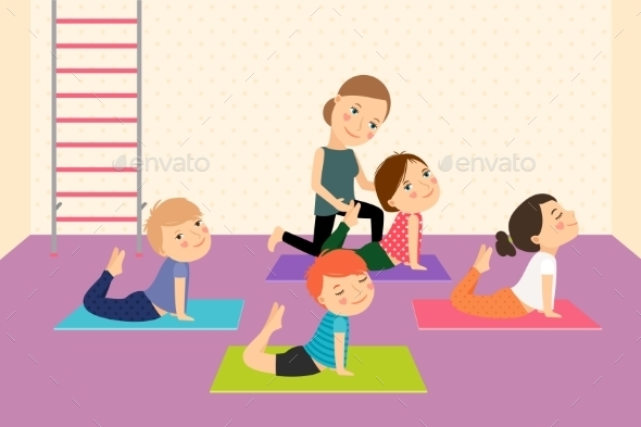 Kids Yoga with Instructor - People Characters