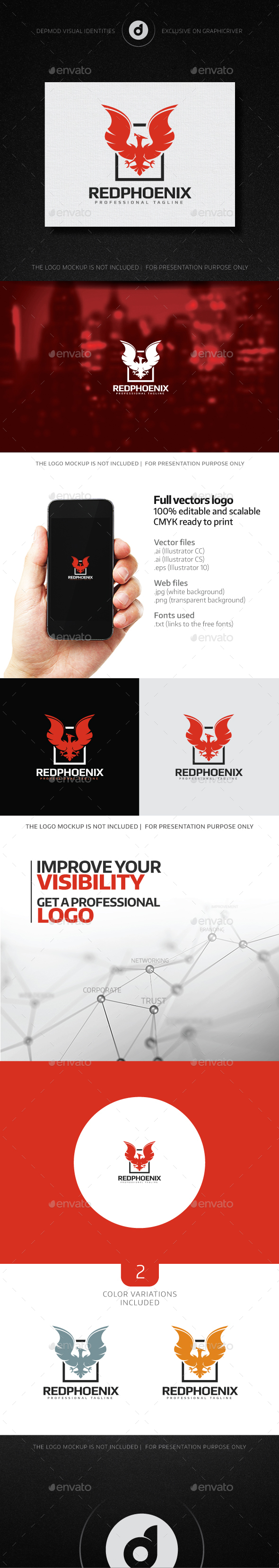 Red Phoenix Logo - Animals Logo Templates