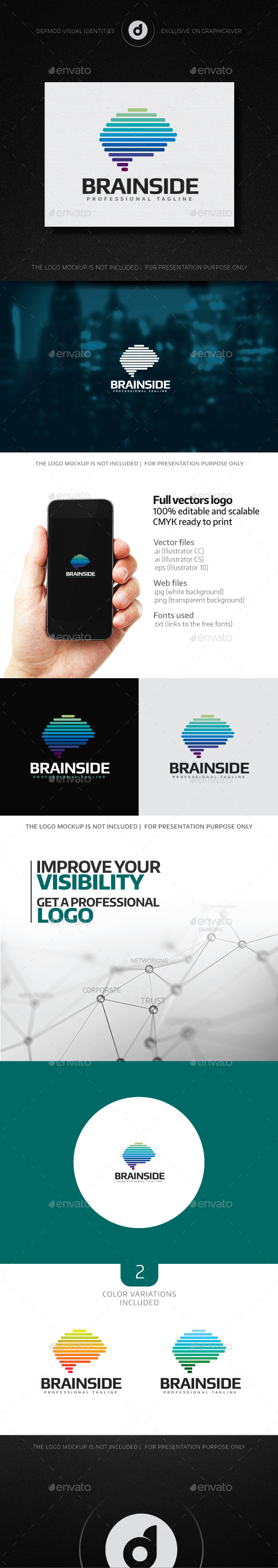 Brain Side Logo - Symbols Logo Templates