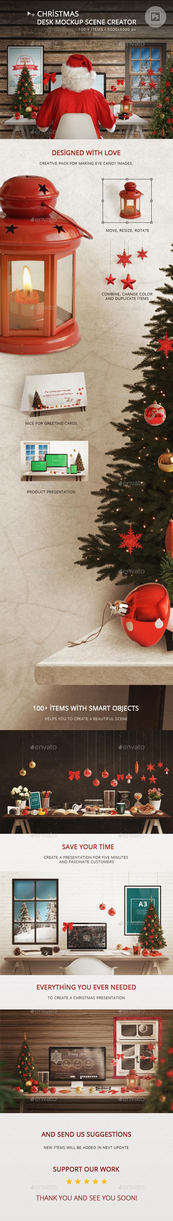 Christmas Desk Mockup Scene Creator - Hero Images Graphics