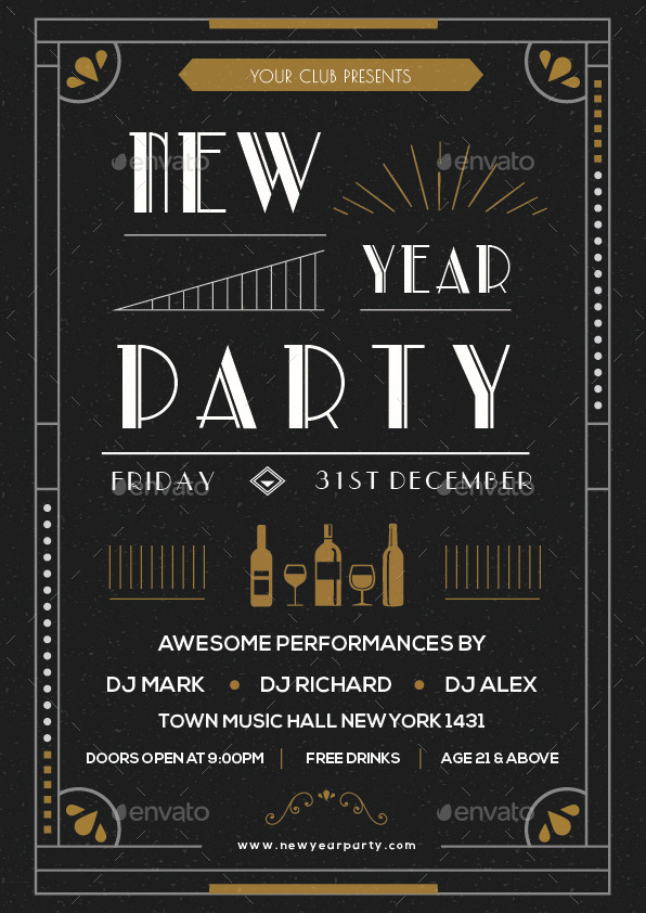 New Year Party Flyer Art Deco By Infinite78910