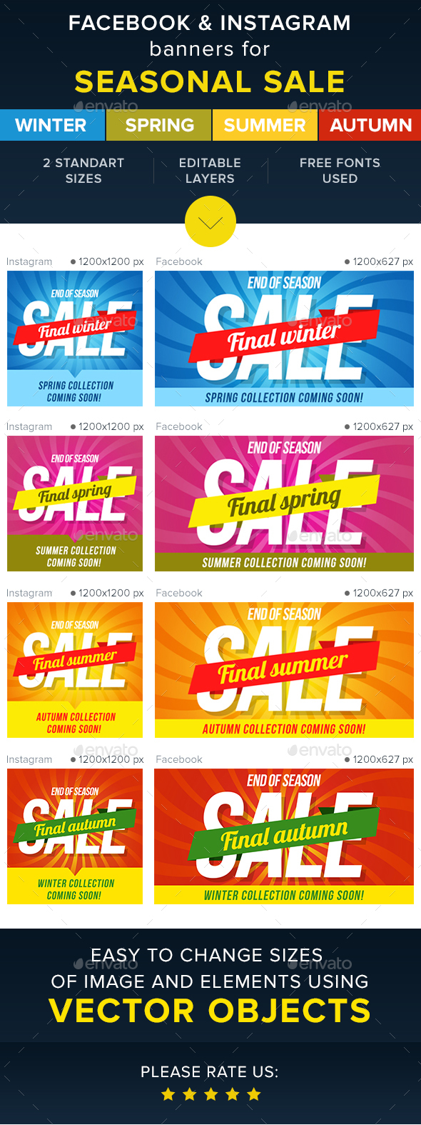 Seasonal Sale Banners For Facebook&Instagram  - Banners & Ads Web Elements