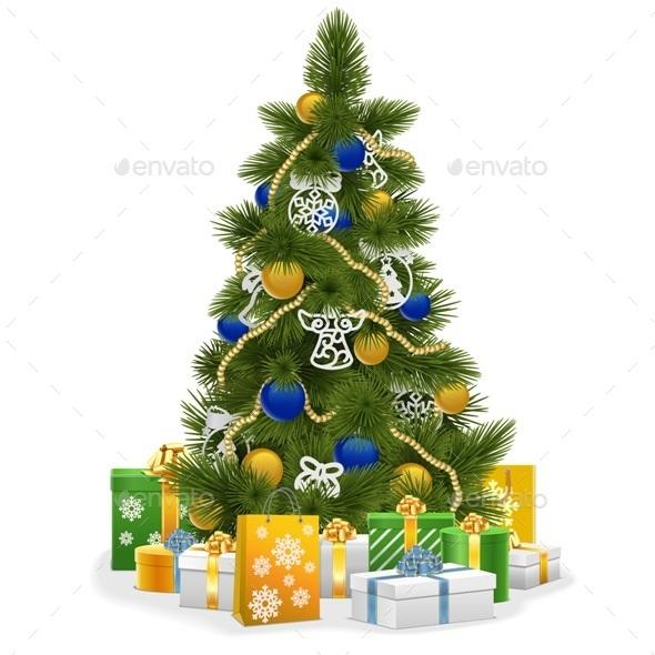 Christmas Tree with Blue Decorations - Christmas Seasons/Holidays