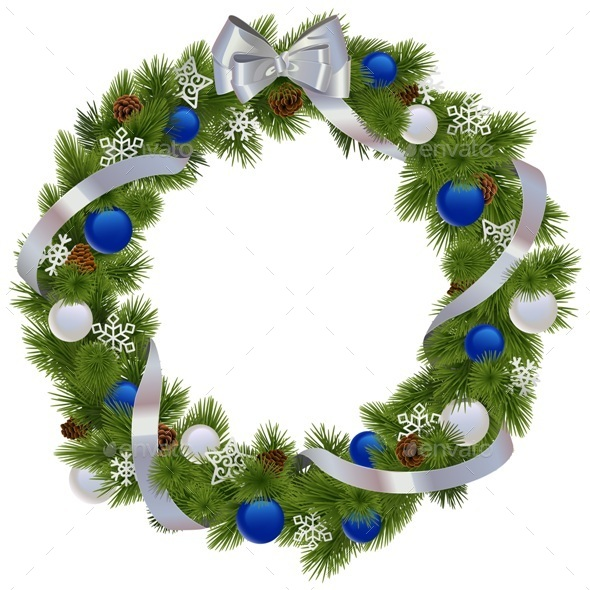 Vector Christmas Wreath with Blue Decorations - Christmas Seasons/Holidays