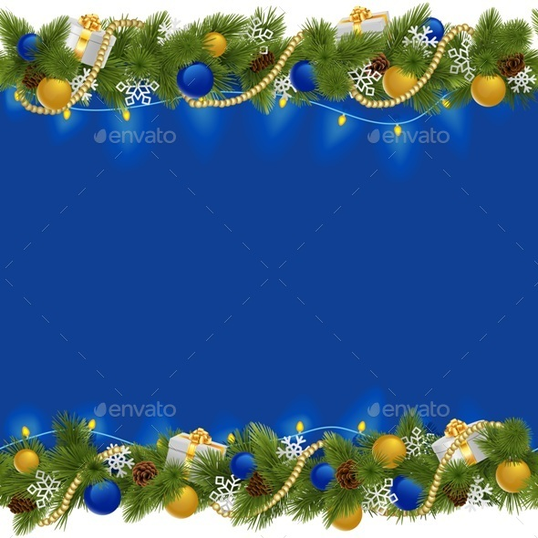 Sapphirine Christmas Border with Garland - Christmas Seasons/Holidays