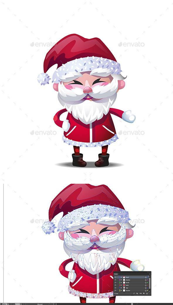 Santa Claus Character Vector Illustration - Christmas Seasons/Holidays