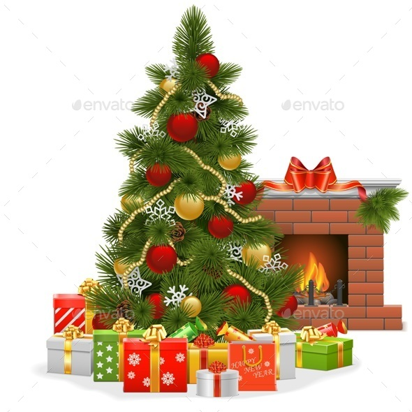 Vector Christmas Tree with Fireplace - Christmas Seasons/Holidays