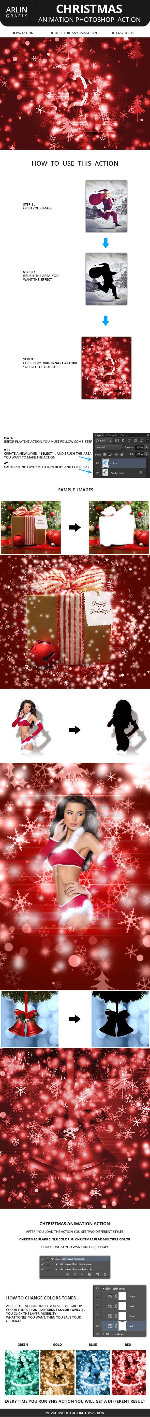 Christmas Animation Photoshop Action - Photo Effects Actions